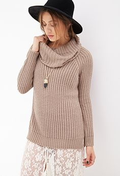 Ribbed Cowl Neck Sweater | Forever21 | in Burgundy, Large