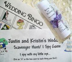 DIY Printable Personalized Kids Wedding Games. US or UK version.  I Spy/ Scavenger Hunt, Bingo. Prints quickly.  Better than Coloring Books.