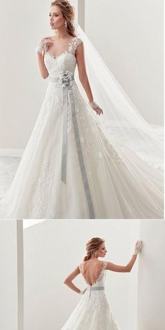 Stunning A-line Tulle Lace Appliques Long Wedding Dresses,Dresses For Wedding