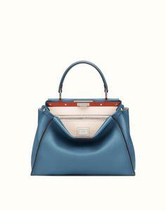 FENDI REGULAR PEEKABOO - Blue leather handbag Fendi 9f6800d195971