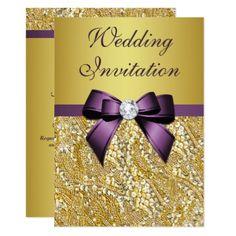 #glitter - #Faux Gold Sequins Diamonds Purple Bow Wedding Card