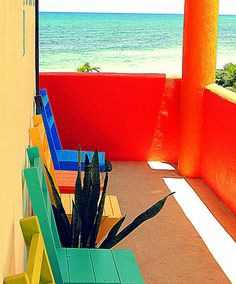 Hot colors of Mexico contrast with the cool Caribbean at Mayan Beach Garden. Entrance to one of the new rooms - Uxmal and Kohunlich. This photo was taken in April 2012.
