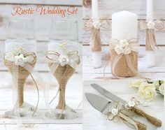 Wedding Decoration This listing is for : one Unity Candle set , two Champagne Glasses and Cake Serving set  *********** Rustic Unity Candle set   Rustic Unity Candle set for your ceremony ! The candles are decorated with Burlap mini roses, pearls , wrapped with rope and finished with ribbon .  Measurements :  *2 pillar candles app. 9,5 inches each ( app. 24cm each one ) *1 Unity Candle app. 6  inches (app. 15cm )  **********  Cake Knife Set The cake cutters are wrapped with natural burlap…