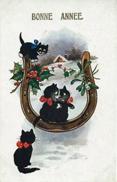 Black cats with lucky horseshoe postcard. Published by Inter-Art Comique Series Nr 5348.