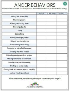Therapeutic worksheets focused on helping kids and teens explore feelings of anger. Tools assist kids with identifying anger triggers and healthy anger management techniques. Anger Management For Adults, Anger Management Worksheets, Cbt Worksheets, Counseling Worksheets, Therapy Worksheets, Counseling Activities, Counseling Teens, Social Work Activities, Anger Management Tips