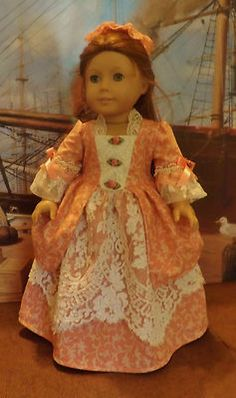 Roses-and-Lace-Ballgown-for-American-Girl-Elizabeth-and-Felicity, by newyorkdolldesigns via eBay SOLD 9/13  $35.52