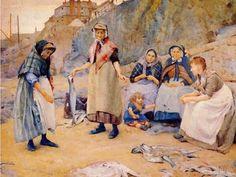 Cornish women's costume in the fishing village of Newlyn, Walter Langley