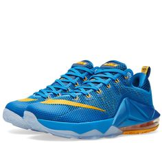 524d56e1743d Buy the Nike LeBron XII Low  Entourage  in Photo Blue   University Gold  from leading mens fashion retailer END.