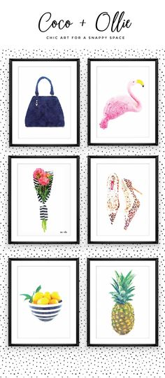 Build your own gallery wall using Coco + Ollie's super chic graphic prints. The are so many to choose from! xo