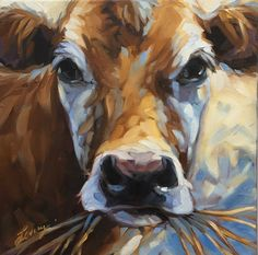 "Cow painting, Original impressionistic oil painting of a cow by Andrea Lavery, 12x12"" on canvas, paintings of cows and farm animals by LaveryART on Etsy"
