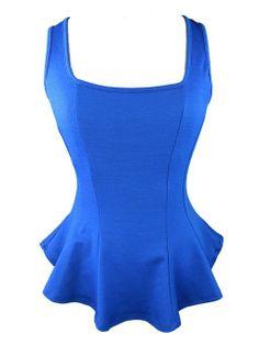 Amazon.com: YogaColors Women's Squareneck Fitted Peplum Tank Top: Clothing