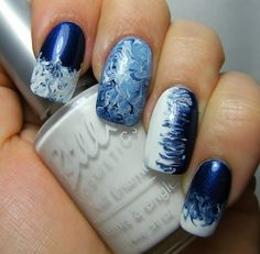Drag marbling with blue & white.