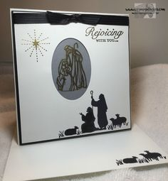 """All Ye Faithful, Every Blessing, Vellum, Gold embossing powder, Versatile Christmas (sentiments), Basic Black 3/8"""" Stitched Satin Ribbon (exterior) - Happy Stampers Blog Hop 12/17/2015"""