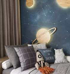 Dmaiz Kids Bedding is part of the space environment, with blankets and cushions in shades of gray and blue (Photo: Adriana Barbosa / Divulgação) Boys Space Bedroom, Boy Room, Girls Bedroom, Outer Space Bedroom, Blue Bedroom, Baby Room Design, Baby Room Decor, Bedroom Themes, Bedroom Decor