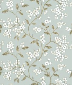 Apple Blossom - G P J Baker Wallpapers - This delicate trailing branch design contrasts clusters of round petals with sharper leaf and branch forms. Shown here in aqua/gilver - more colours are available. Please request a sample for true match.