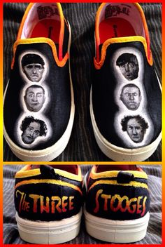 Custom hand-painted Three Stooges shoes featuring Moe, Larry, and Curly