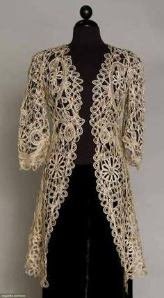 1905 - 1915 Battenburg lace [3/4-length] coat, circa 1910. Ecru silk tape lace, princess lines, elbow-length bell sleeves. Front