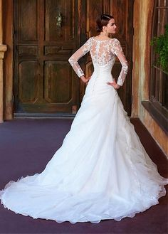 Gorgeous Organza Satin & Lace With Beaded Lace Appliques Sheath Scoop Neckline Natural Waist Floor Length Wedding Dress With Sleeves