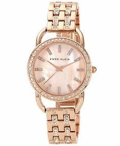 Anne Klein Watch, Women's Crystal Accent Rose Gold-Tone Bracelet 31mm AK-1262RMRG
