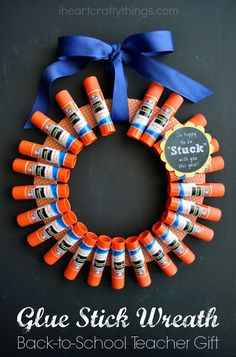 DIY Back-to-School Teacher Gift: Elmer's Glue Stick Wreath. Make teachers smile by giving them a thoughtful homemade gift from your kids on the first day of school.