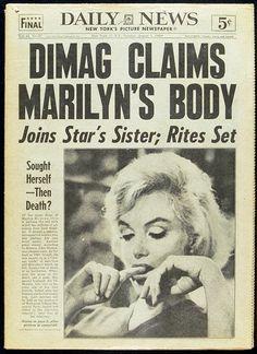 HEADLINE - DEAD - NEW YORK - 1962 - DEATH - MARILYN MONROE - NEWSPAPER - DAILY NEWS - 12418