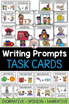 Writing Prompts for kids:  These writing prompt task cards are great for Kindergarten and First Grade classrooms.  Use in writing centers, writing stations, and to help students get creative in their journals.