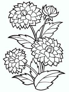 Dahlia Flower Coloring Pages - Printable Coloring Pages Printable Flower Coloring Pages, Coloring Book Pages, Coloring Sheets, Flower Colouring Pages, Mandala Coloring, Marigold Flower, Dahlia Flower, Flower Bouquets, Lotus Flower