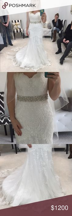 NWT UNaltered Stella York wedding gown This gown is beautiful with ivory lace on top of an ivory underlay. Sparkle in the lace is from sequins that are perfectly placed and tasteful. Train is to die for! Just found a simpler dress to go with for my wedding. Guaranteed authentic. Comes with tags, and dress bag. Please ask questions or make an offer! Someone deserves this brand new gown! Stella York Dresses Wedding