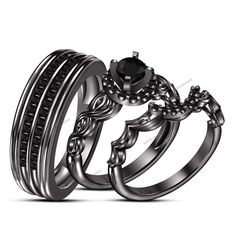 Size 5-12 Black Rhodium Wedding Ring Set Engagement Round Cut Diamond 3pcs Ring #br925silverczjewelry