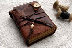 The Bundler - Rustic Caramel Leather Journal, Handbound, Embossed, Tea Stained Pages, Antique Button, OOAK