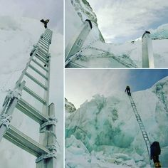 Ladders are a big part of climbing through the icefall and this is a big ladder. #breathingoneverest #nepal #documentary #beatcf #icefall #teamtalbot by breathingoneverest