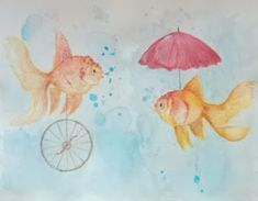 Baby Art, Goldfish, Rooster, Magic, Painting, Animals, Animales, Animaux, Painting Art