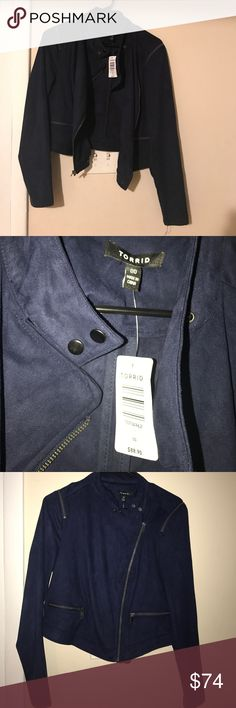 NWT Torrid Suede Moto jacket peacoat Navy blue! NWT! Tags say 00 perfect ride time on a motorcycle or for a fall day! torrid Jackets & Coats Pea Coats