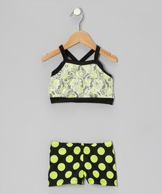 Take a look at this Neon Green & Black Lace Crop Top & Polka Dot Shorts - Girls by Elliewear on #zulily today!