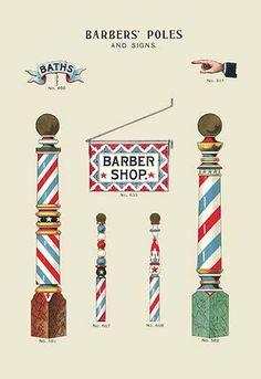 'Barbers' Poles And Signs' Print (Canvas Giclee Barber Sign, Barber Shop Pole, Barber Shop Decor, Album Design, Vintage Artwork, Vintage Prints, Artwork Prints, Poster Prints, Posters