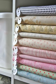 "Oh lovely, organized fabric.  This blog writer calls this ""Fabric   Storage Regime #173,905. """