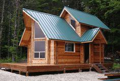 cabaña de madera de pino natural,
