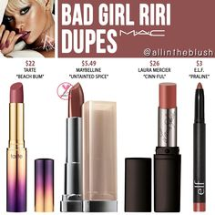 MAC Bad Girl Riri Lipstick Dupes – All In The Blush - therezepte sites Mac Dupes, Drugstore Makeup Dupes, Beauty Dupes, Makeup Brands, Best Makeup Products, Beauty Makeup, Beauty Box, Beauty Products, Beauty Hacks