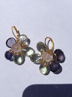 Pink rose quartz, Green amethyst, Iolite, Gold earrings, etsy jewelry, Lilyb444 #handmade #etsyretwt