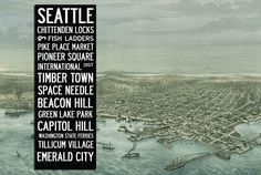 Large Vintage SEATTLE  Bus Scroll / Subway by mercantilemill, $189.00