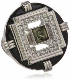 T Tahari Jet and Black Diamond Crystal Stretch Ring, Size 7 T Tahari. $45.00. Made in CN