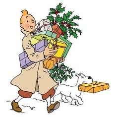 Tintin and Snowy bearing Christmas gifts and wishing you a Merry Christmas • Tintin, Herge j'aime • Thank you, pinners