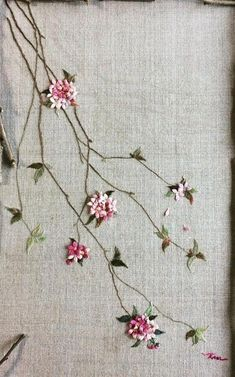Silk Ribbon Embroidery Kit Handmade Oriental Wall Hanging Art Asian Decoration Big (No frame) - Embroidery Design Guide Brazilian Embroidery Stitches, Embroidery Flowers Pattern, Rose Embroidery, Hand Embroidery Stitches, Silk Ribbon Embroidery, Embroidery Kits, Embroidery Needles, Embroidery Tattoo, Embroidery Supplies