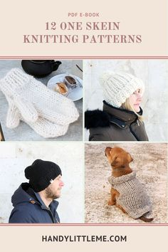 Get last minute gift ideas from this round up of 12 one skein knitting patterns. Most items will knit up in one afternoon! Winter Knitting Patterns, Berlin, Knit Cardigan Pattern, Pdf Patterns, Little My, Last Minute Gifts, Knitting Socks, Knitting Projects, American Girl