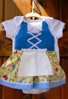 Newborn dirndl dress onesie (Scandinavian dress, Swedish dress, Halloween costume). $24.00, via Etsy.