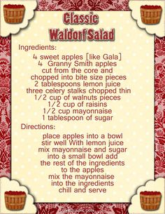 classic waldorf salad recipe recipes ingredients instructions salad easy recipes appetizers snacks salads salad recipes use plain yogurt instead of mayo Old Recipes, Vintage Recipes, Cooking Recipes, Easy Recipes, Recipies, Apple Recipes, Cooking Ideas, Food Ideas, Healthy Recipes
