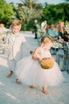 Beach flower girl and ring bearer