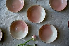 Mini bowls with gold trim. 29 CHF at www. Chf, Watercolor Rose, Organic Shapes, Tapas, Bowls, Artisan, Plates, Dishes, Tableware