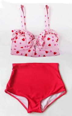 Strawberry Retro Vintage High Waist Swimsuit by venderstore, $39.99
