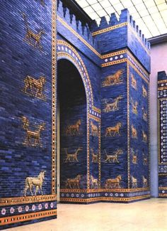 The reconstructed Ishtar Gate in the Pergamon Museum in Berlin:  It was the eighth gate to the inner city of Babylon in ancient Mesopotamia.  The remains of Babylon are in present-day Hillah, Iraq.